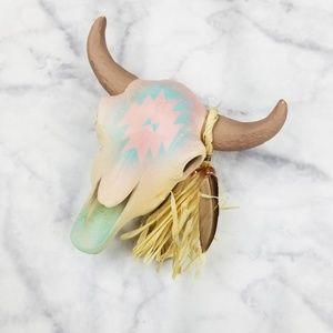 Southwestern|Clay Cattle Skull Decoration